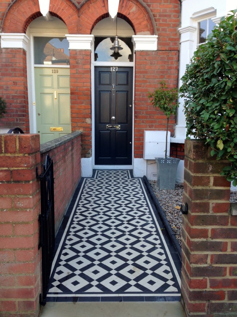 black and white victorian mosaic tile path balham york stone london (4)