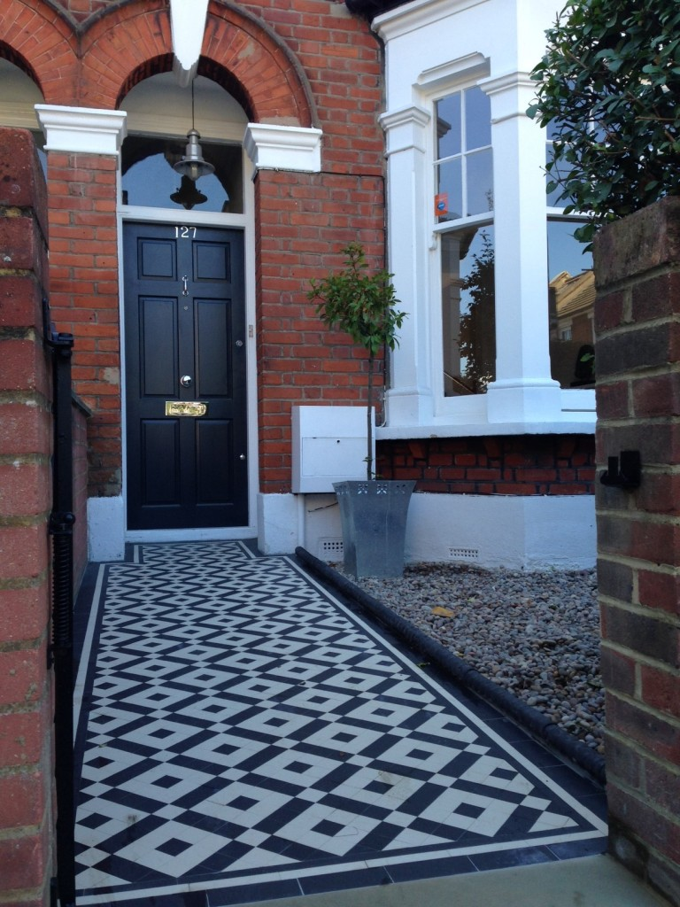 black and white victorian mosaic tile path balham york stone london (5)