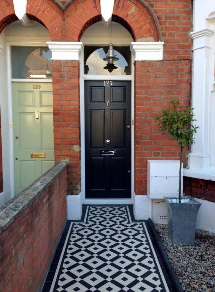 black and white victorian mosaic tile path balham york stone london (6)