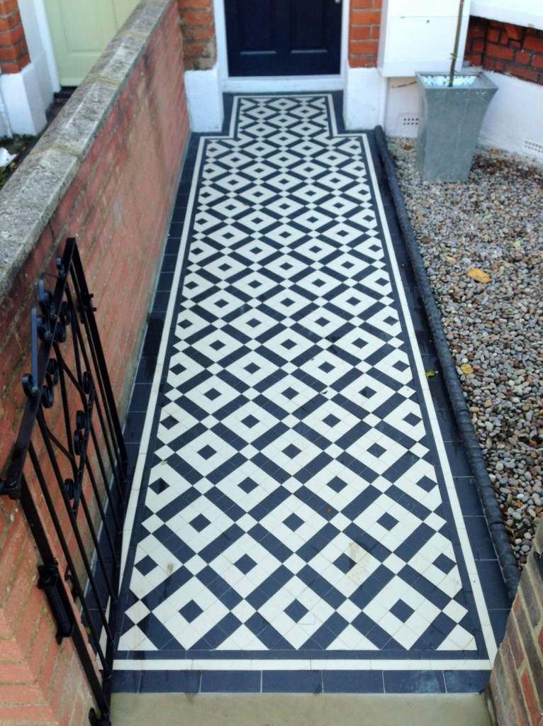 black and white victorian mosaic tile path balham york stone london (7)
