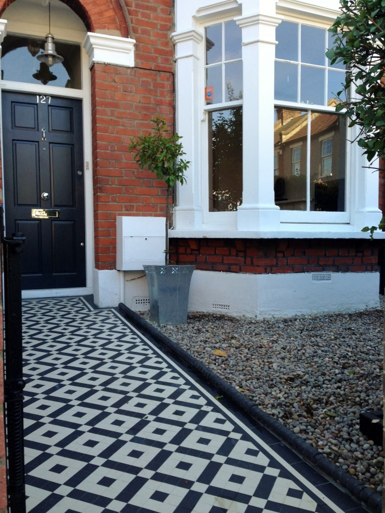black and white victorian mosaic tile path balham york stone london (8)