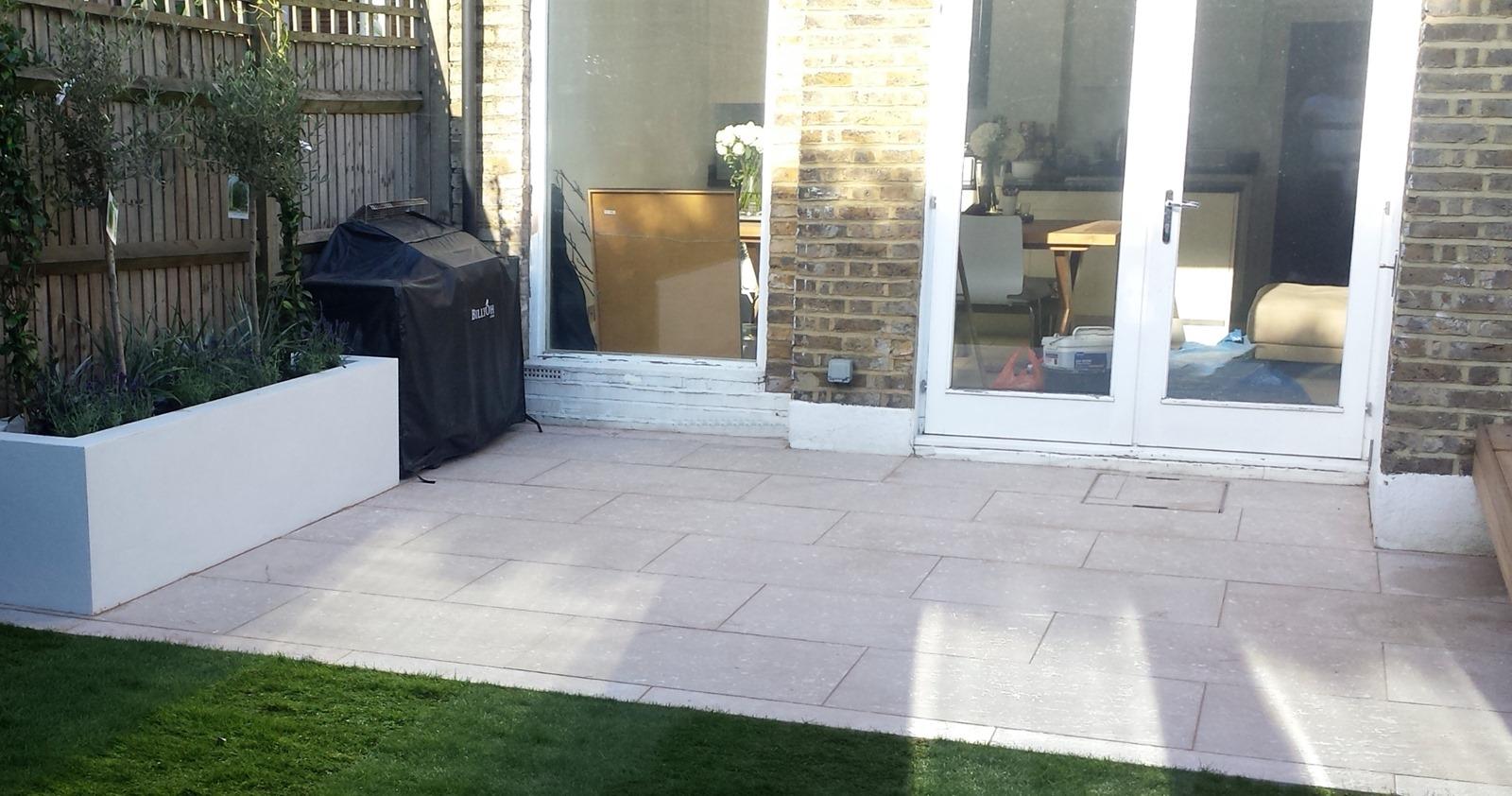 Grey Limestone Patio Paving Raised Beds Floating Hardwood Bench Clapham London