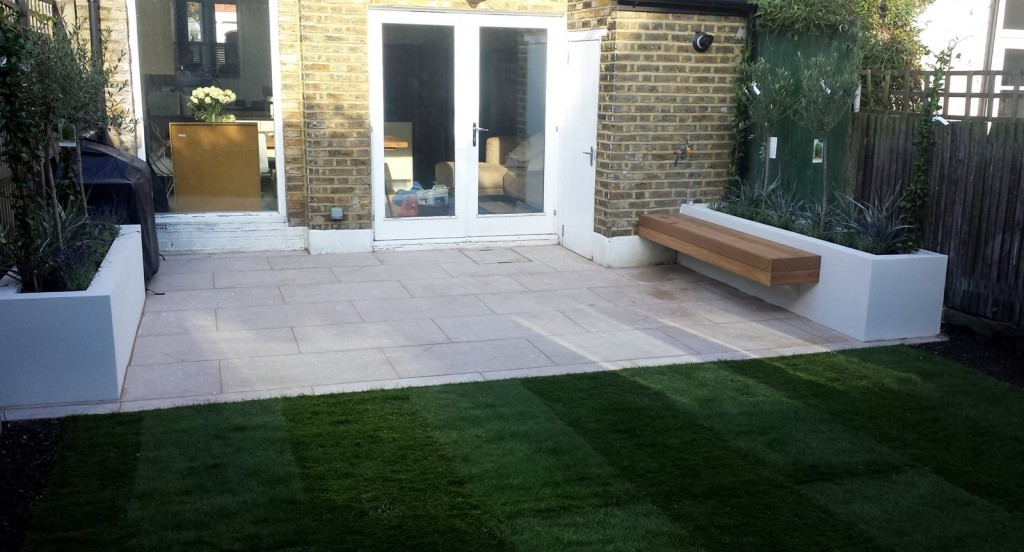grey limestone patio paving raised beds floating hardwood bench clapham london (2)