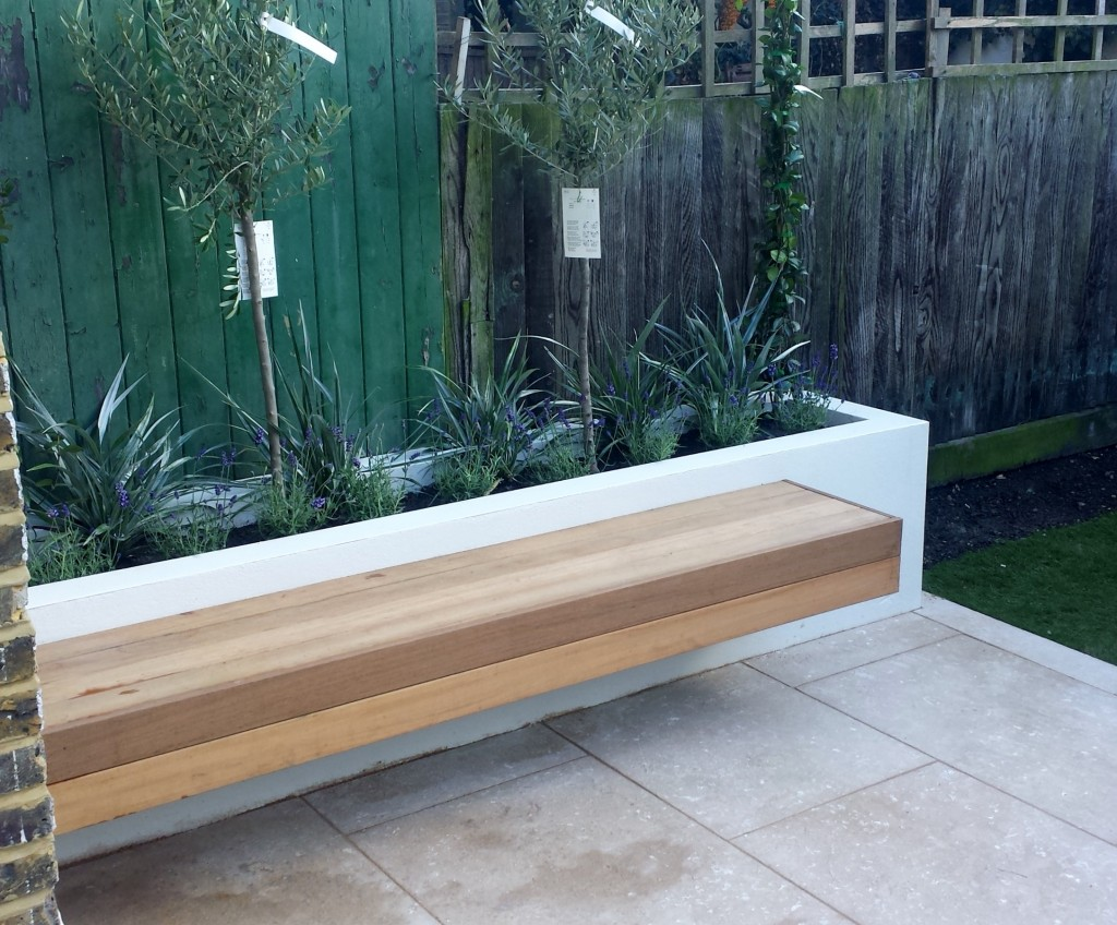 grey limestone patio paving raised beds floating hardwood bench clapham london (3)
