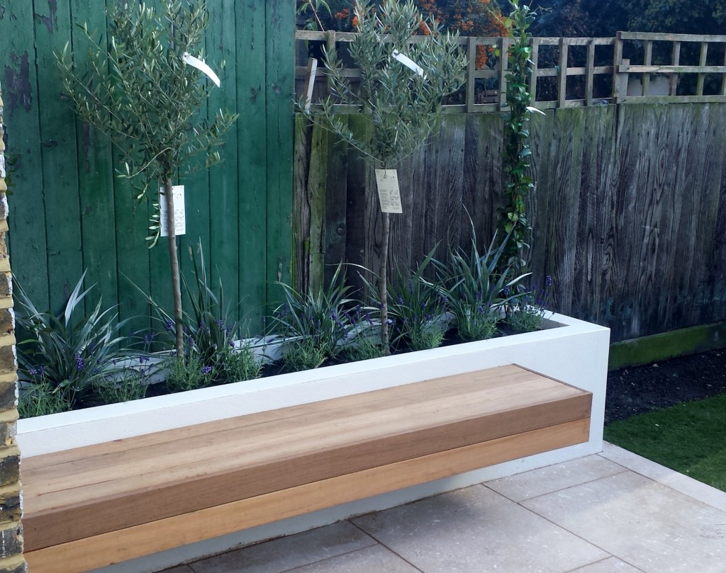 grey limestone patio paving raised beds floating hardwood bench clapham london (4)