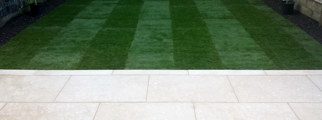 grey limestone patio paving raised beds floating hardwood bench clapham london (5)