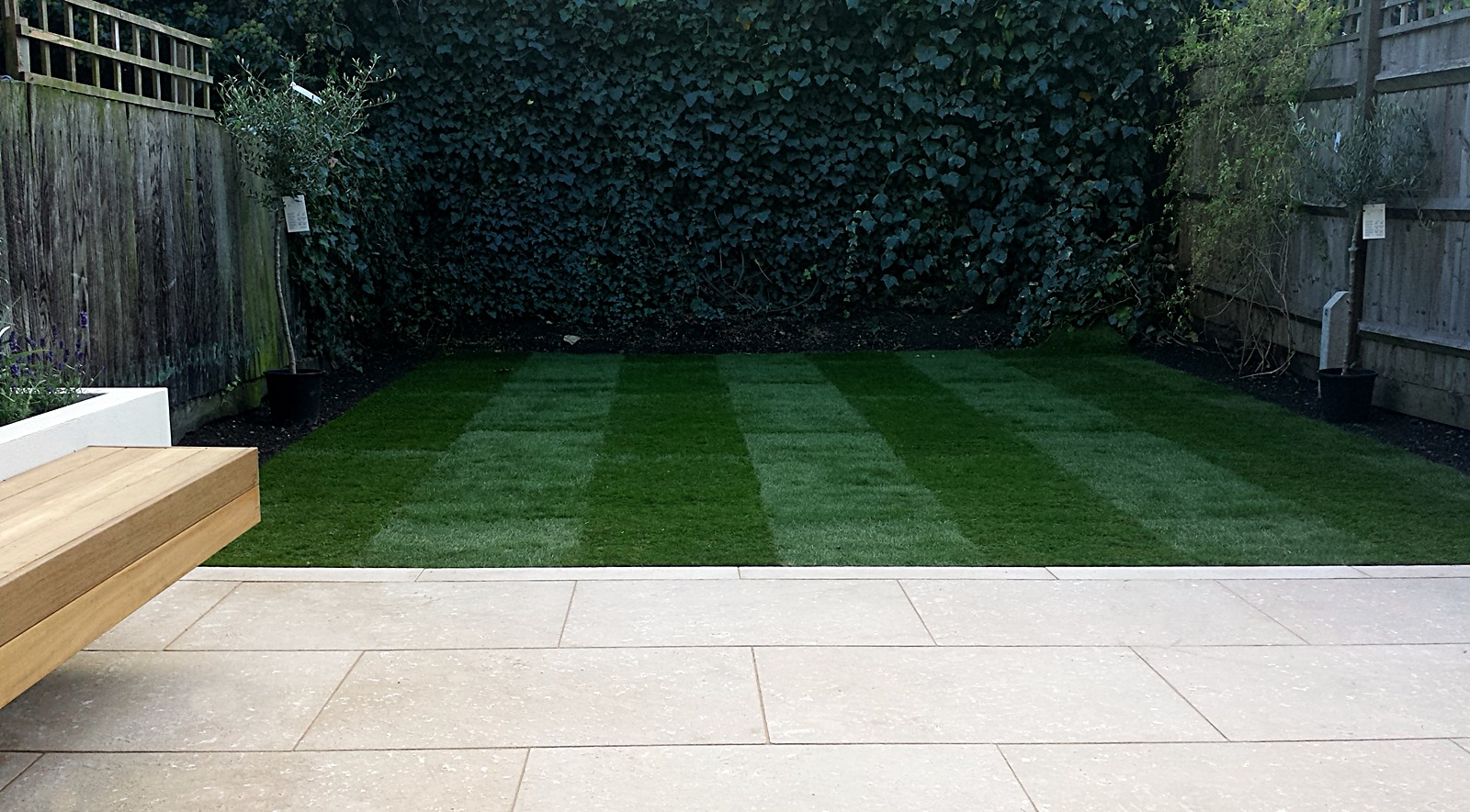 Grey Limestone Patio Paving Raised Beds Floating Hardwood Bench Clapham London London Garden