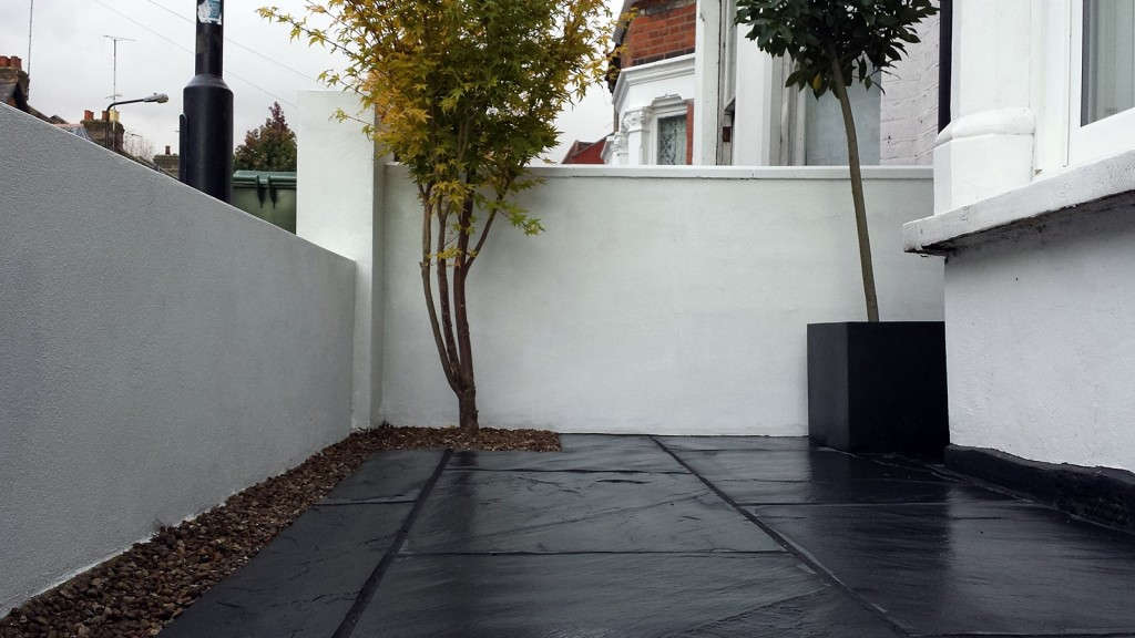 Front garden victorian mosaic rendered front wall rail and meatl agte slate paving walthamstow and east london (1)