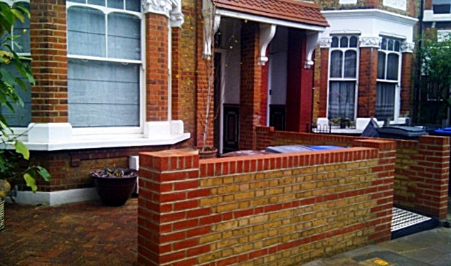 London yellow and red brick wall garden wall victorian black and white mosaic tile path kensal rise kilburn notting hill london (2)