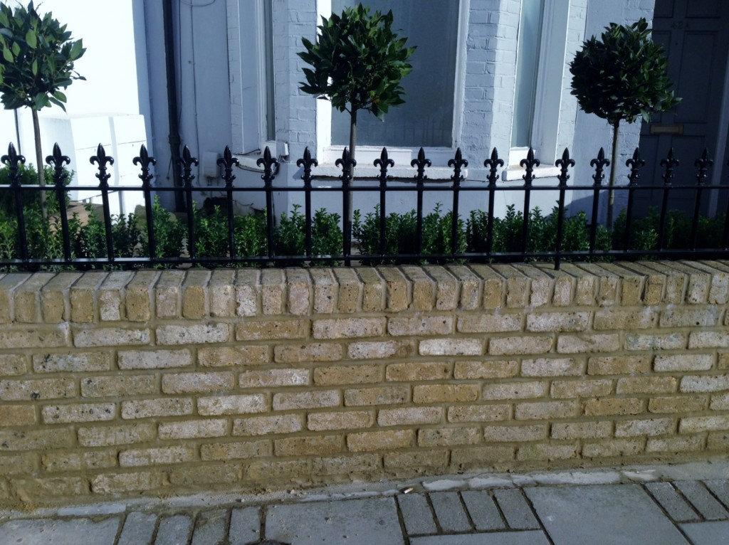 Yellow brick garden wall metal rail and gate bay and buxus topiary Clapham Battersea Balham London (8)