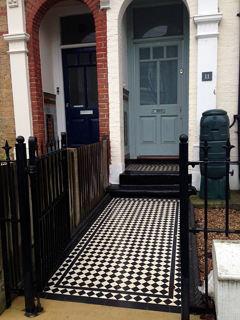 balham wandsworth victorian black and white mosaic tile path London (4)