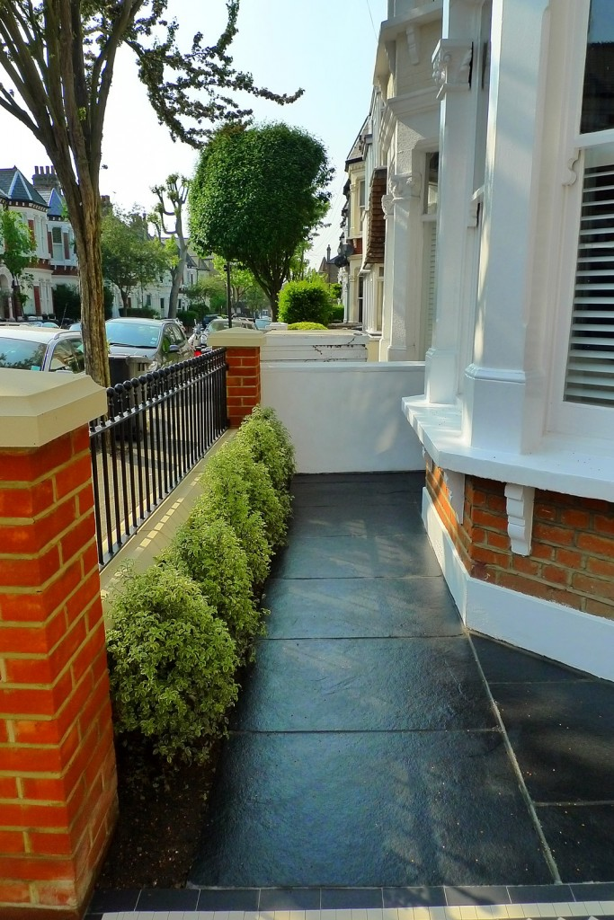 clapham balham Victorian front garden mosaic tile path red brick wall black paving metal wrought iron gate and rail london (1)