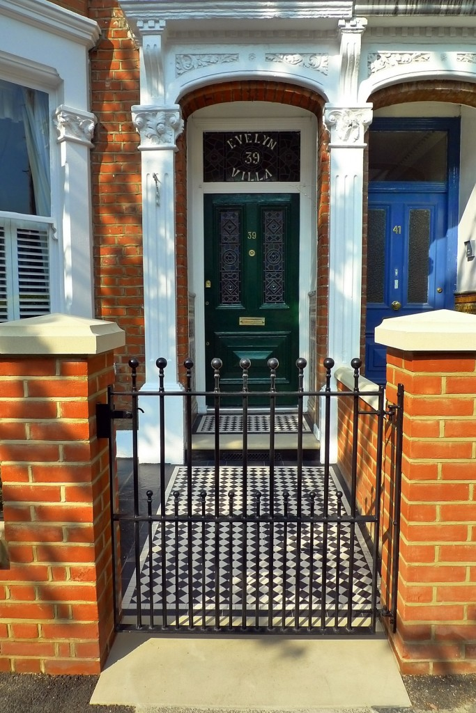 clapham balham Victorian front garden mosaic tile path red brick wall black paving metal wrought iron gate and rail london (11)