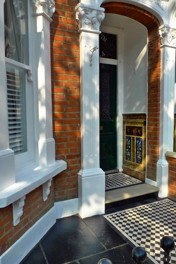 clapham balham Victorian front garden mosaic tile path red brick wall black paving metal wrought iron gate and rail london (12)