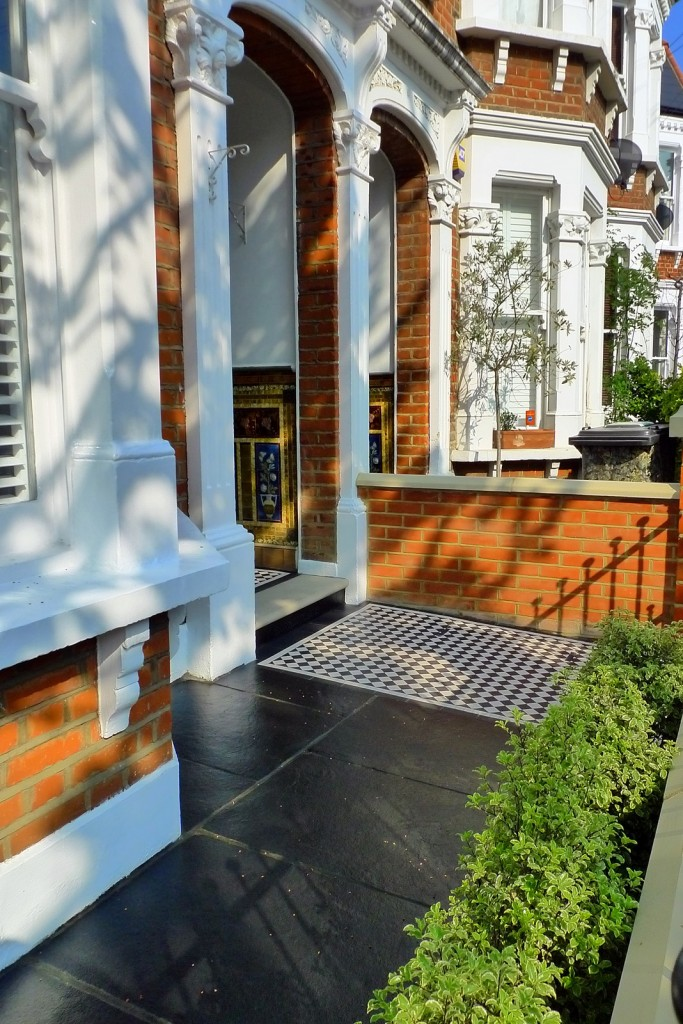 clapham balham Victorian front garden mosaic tile path red brick wall black paving metal wrought iron gate and rail london (13)