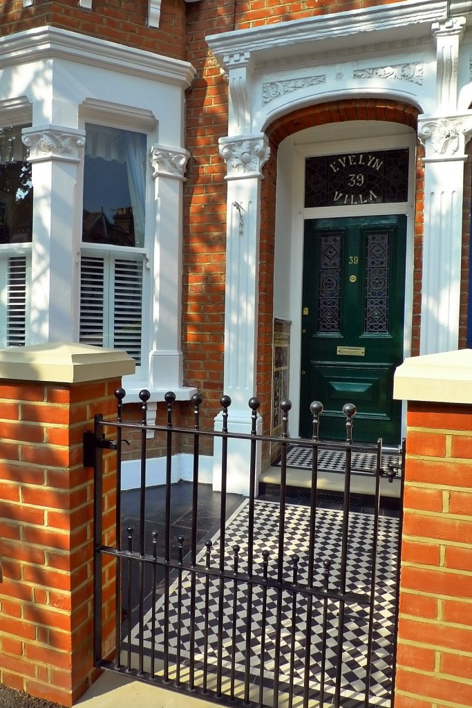clapham balham Victorian front garden mosaic tile path red brick wall black paving metal wrought iron gate and rail london (14)