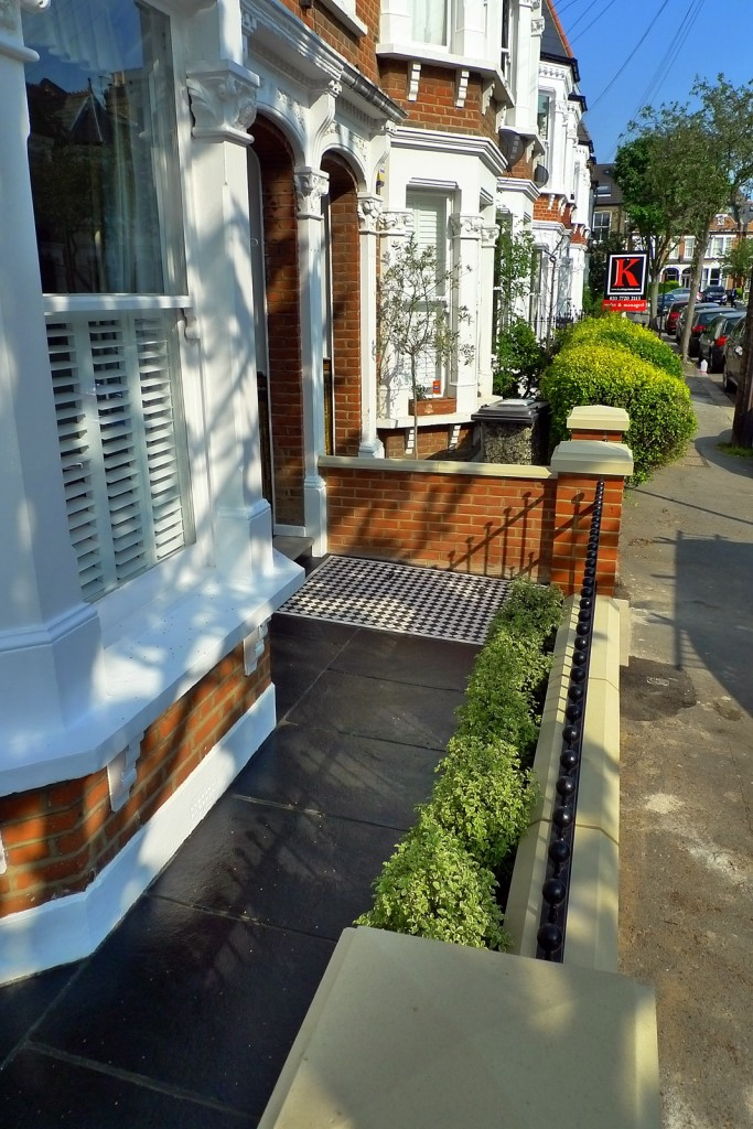 clapham balham Victorian front garden mosaic tile path red brick wall black paving metal wrought iron gate and rail london (4)