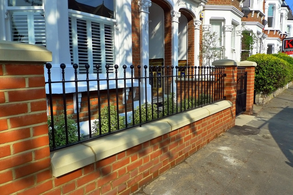 clapham balham Victorian front garden mosaic tile path red brick wall black paving metal wrought iron gate and rail london (5)
