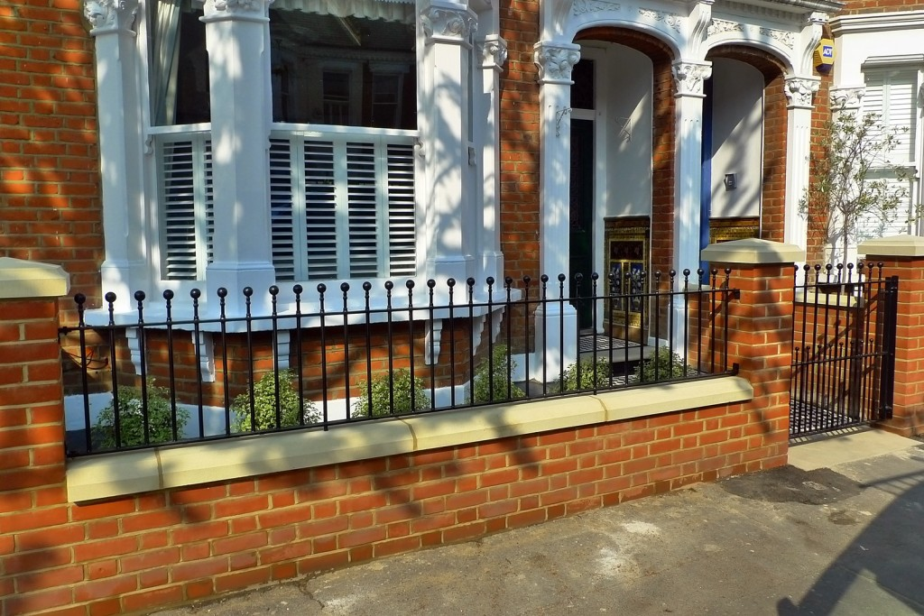 clapham balham Victorian front garden mosaic tile path red brick wall black paving metal wrought iron gate and rail london (6)