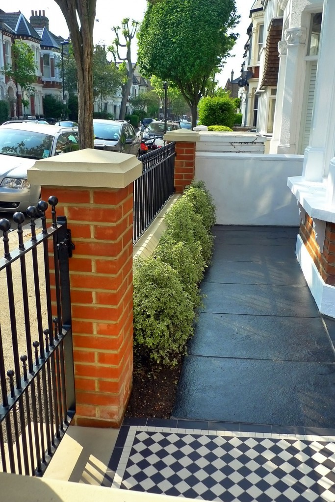 clapham balham Victorian front garden mosaic tile path red brick wall black paving metal wrought iron gate and rail london (7)