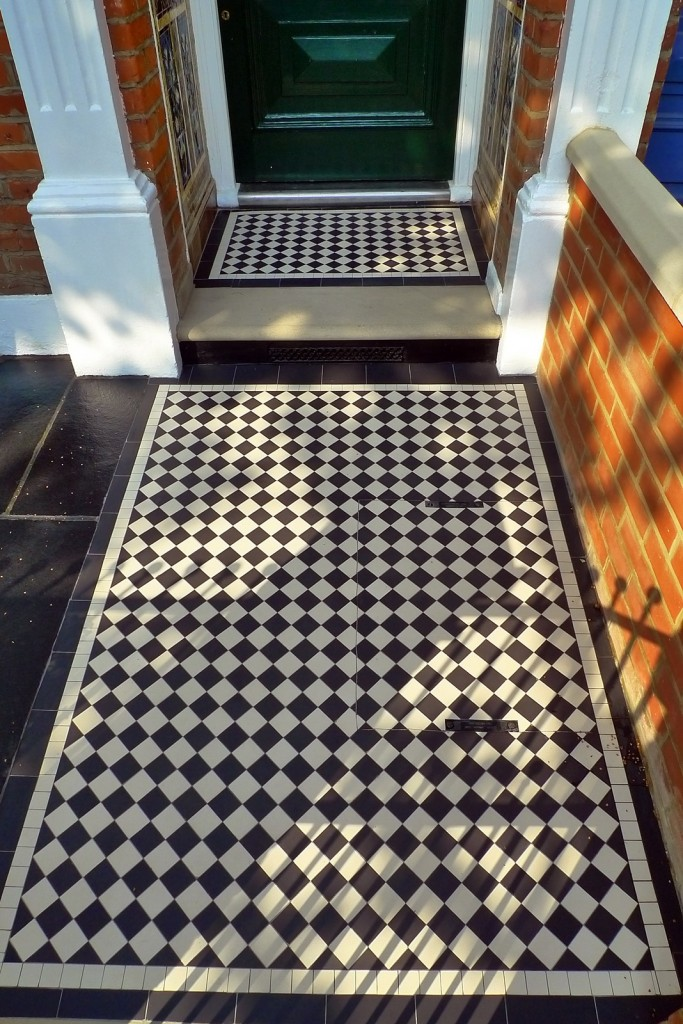 clapham balham Victorian front garden mosaic tile path red brick wall black paving metal wrought iron gate and rail london (8)