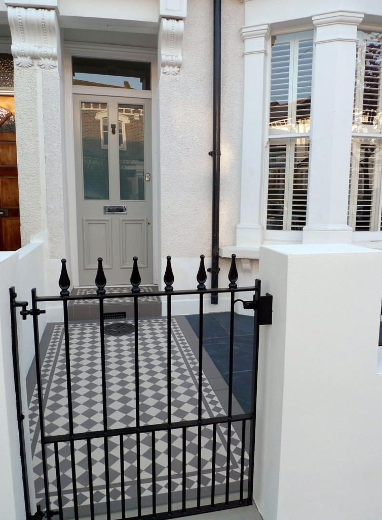 grey and white victorian mosaic tile path rail gate wall bespoke bike bin store slate paving charcoal dark dulwich peckham london (14)