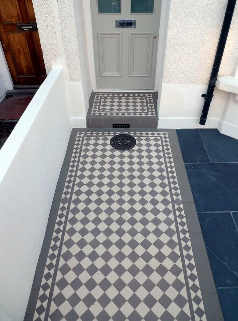 grey and white victorian mosaic tile path rail gate wall bespoke bike bin store slate paving charcoal dark dulwich peckham london (15)