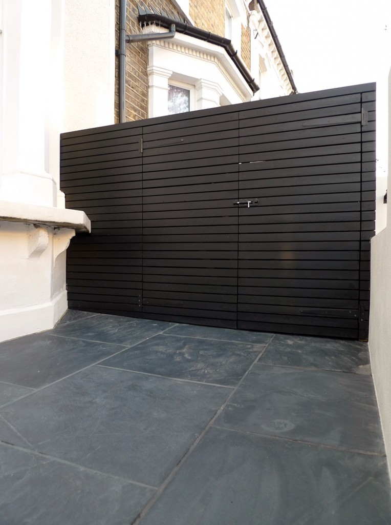 grey and white victorian mosaic tile path rail gate wall bespoke bike bin store slate paving charcoal dark dulwich peckham london (21)