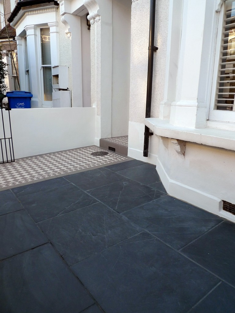 grey and white victorian mosaic tile path rail gate wall bespoke bike bin store slate paving charcoal dark dulwich peckham london (22)