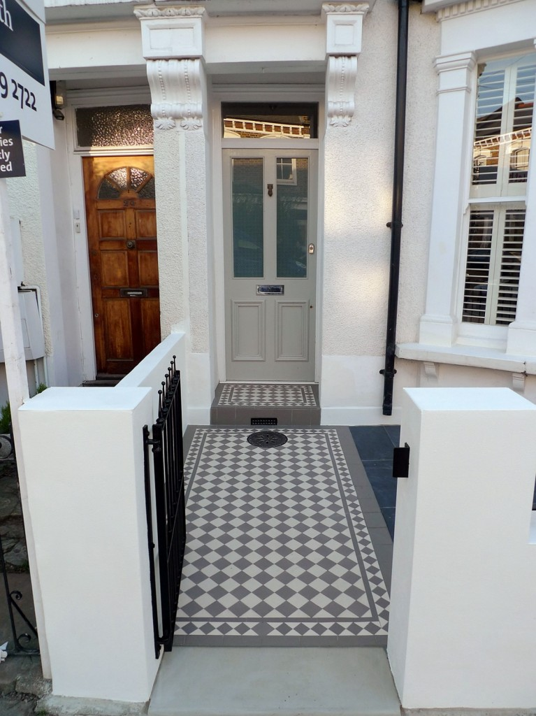 grey and white victorian mosaic tile path rail gate wall bespoke bike bin store slate paving charcoal dark dulwich peckham london (26)
