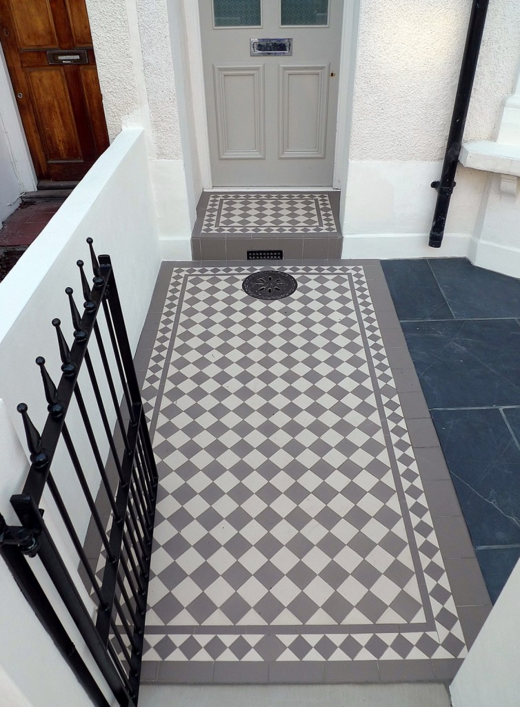 grey and white victorian mosaic tile path rail gate wall bespoke bike bin store slate paving charcoal dark dulwich peckham london (27)