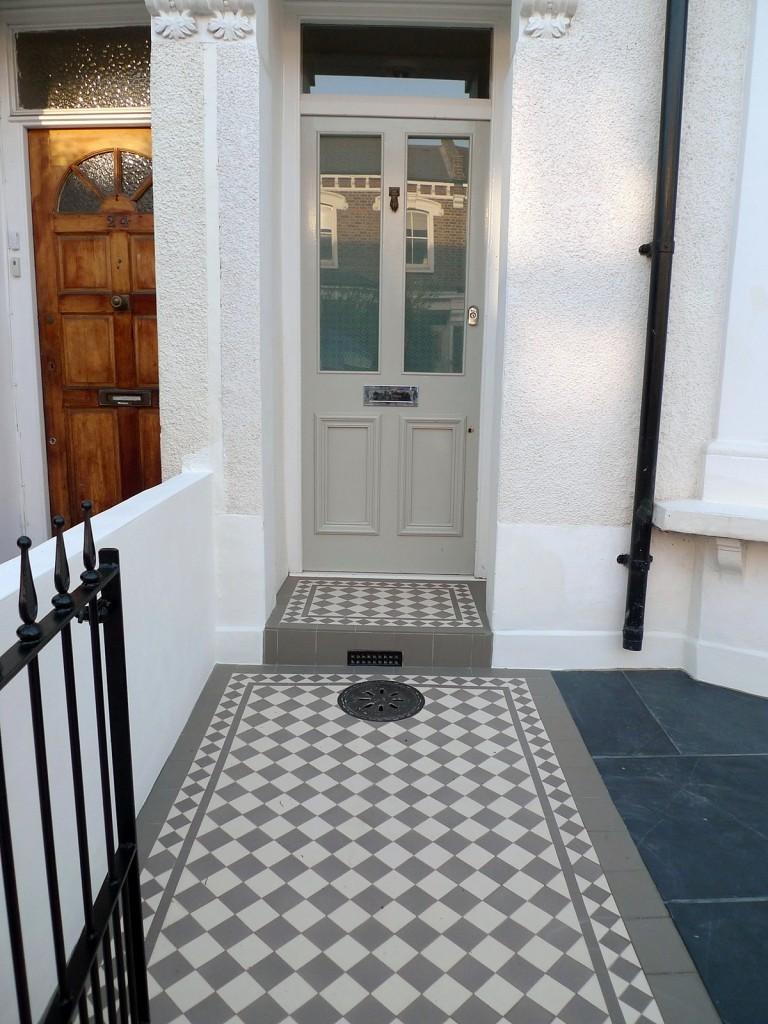 grey and white victorian mosaic tile path rail gate wall bespoke bike bin store slate paving charcoal dark dulwich peckham london (28)