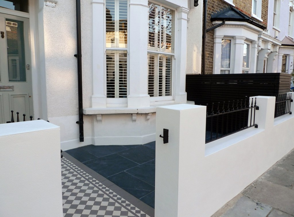 grey and white victorian mosaic tile path rail gate wall bespoke bike bin store slate paving charcoal dark dulwich peckham london (7)