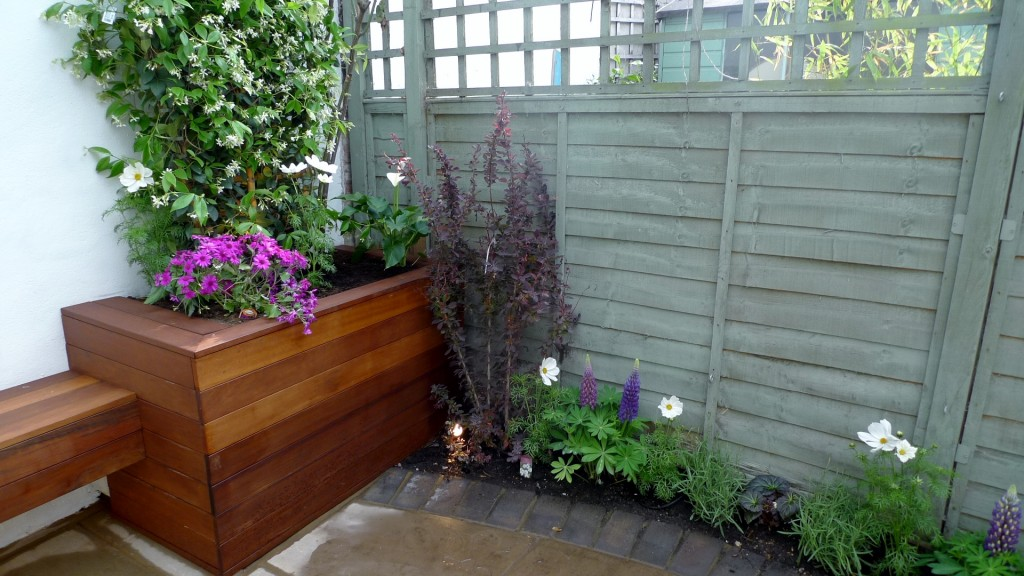 islington garden design courtyard builders designers paving hardwood screen curved bricks london (25)