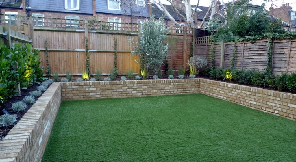 Yellow brick raised bed walls artificial fake easy grass lawn mixed planting herne hill dulwich london (1)