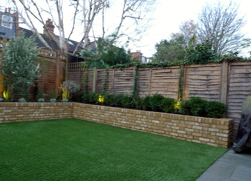 Yellow brick raised bed walls artificial fake easy grass lawn mixed planting herne hill dulwich london (10)