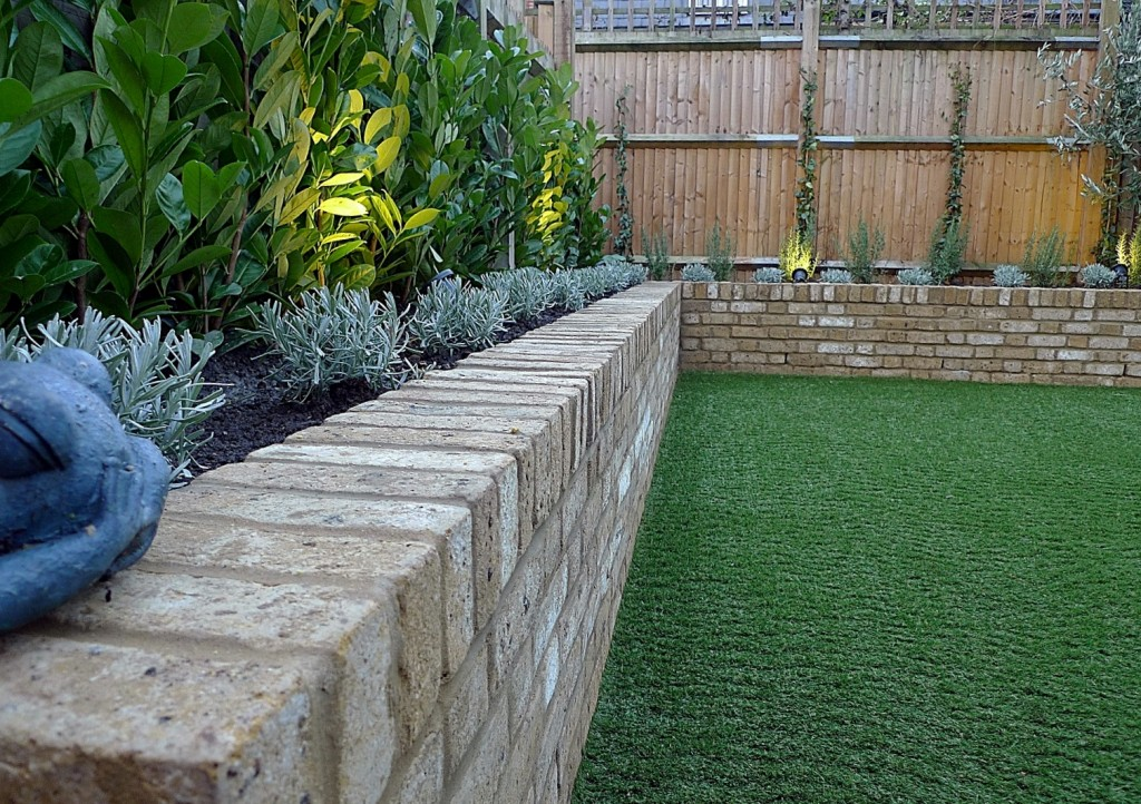 Yellow brick raised bed walls artificial fake easy grass lawn mixed planting herne hill dulwich london (11)