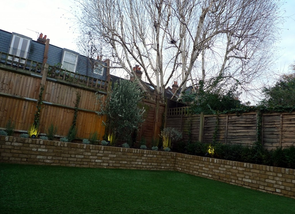 Yellow brick raised bed walls artificial fake easy grass lawn mixed planting herne hill dulwich london (14)