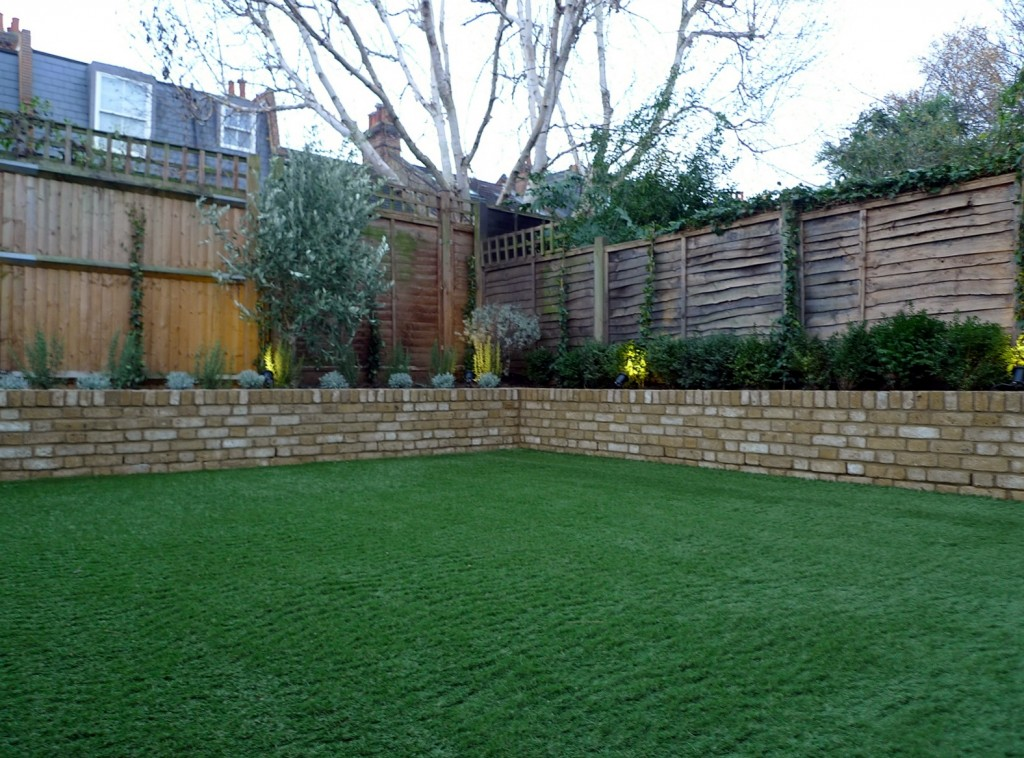 Yellow brick raised bed walls artificial fake easy grass lawn mixed planting herne hill dulwich london (15)