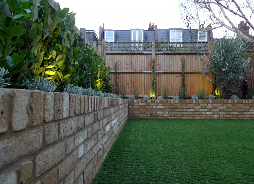 Yellow brick raised bed walls artificial fake easy grass lawn mixed planting herne hill dulwich london (17)