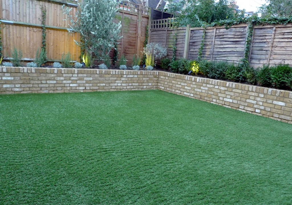 Yellow brick raised bed walls artificial fake easy grass lawn mixed planting herne hill dulwich london (18)