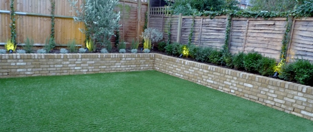 Yellow brick raised bed walls artificial fake easy grass lawn mixed planting herne hill dulwich london (3)