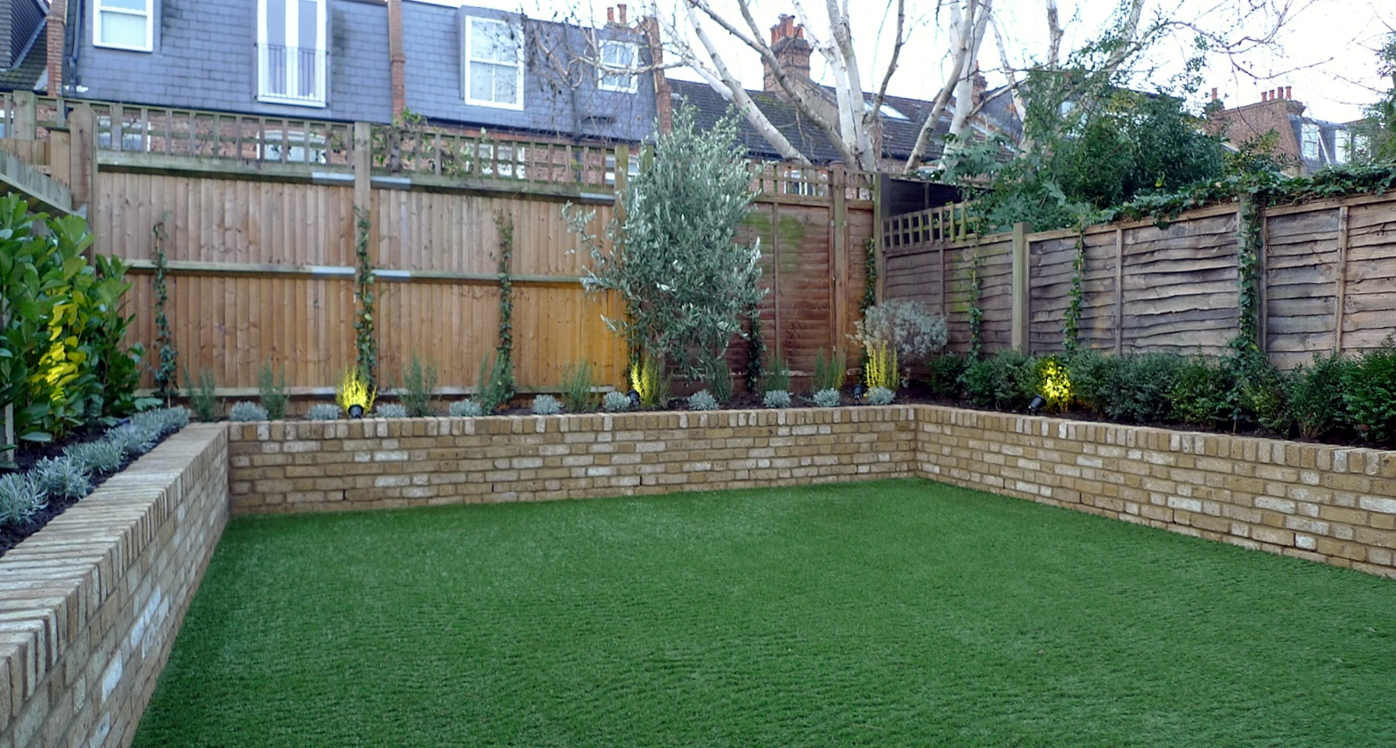 Yellow Brick Raised Bed Walls Artificial Fake Easy Grass Lawn Mixed Planting Herne Hill Dulwich London London Garden Design