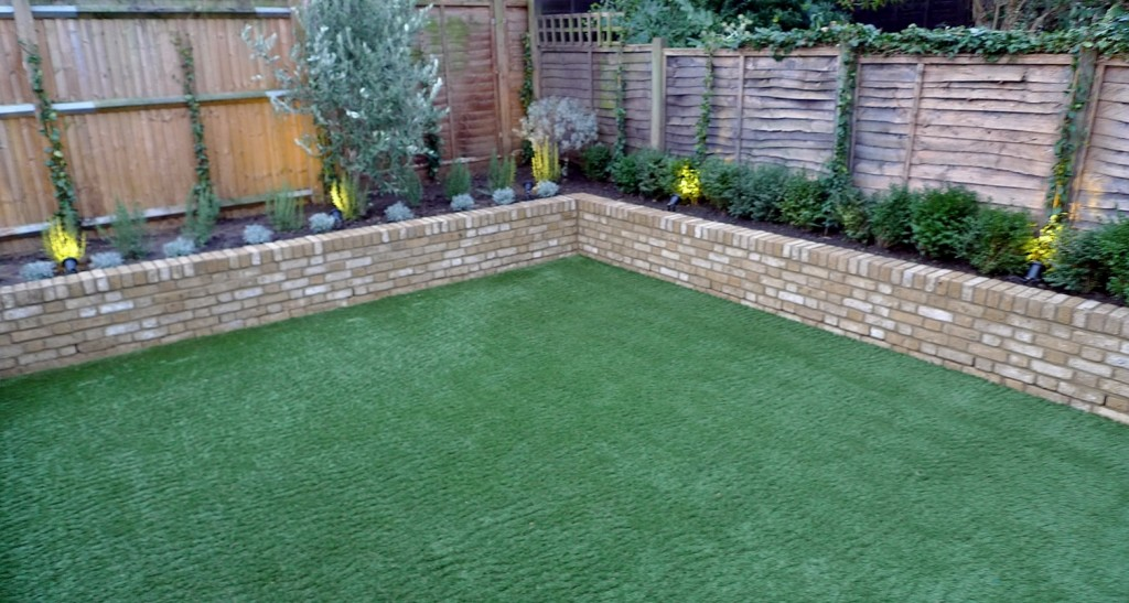 Yellow brick raised bed walls artificial fake easy grass lawn mixed planting herne hill dulwich london (5)