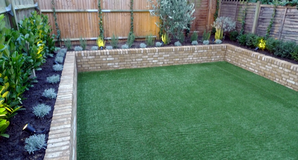Yellow brick raised bed walls artificial fake easy grass lawn mixed planting herne hill dulwich london (6)