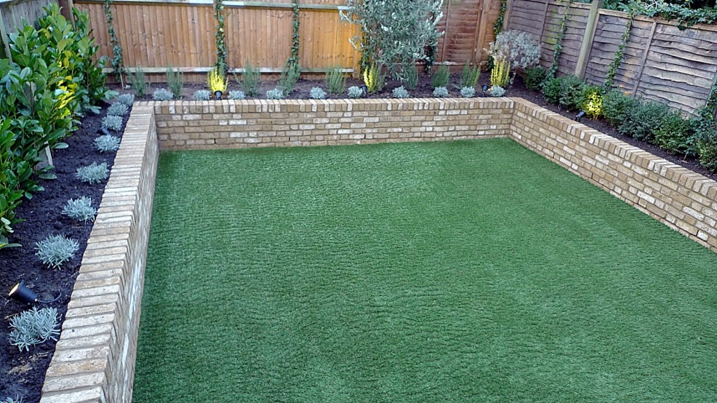 Yellow brick raised bed walls artificial fake easy grass lawn mixed planting herne hill dulwich london (7)