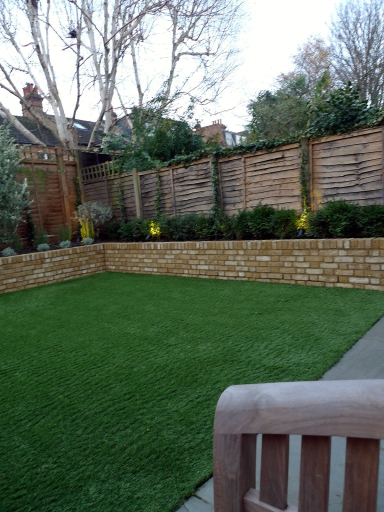 Yellow brick raised bed walls artificial fake easy grass lawn mixed planting herne hill dulwich london (8)