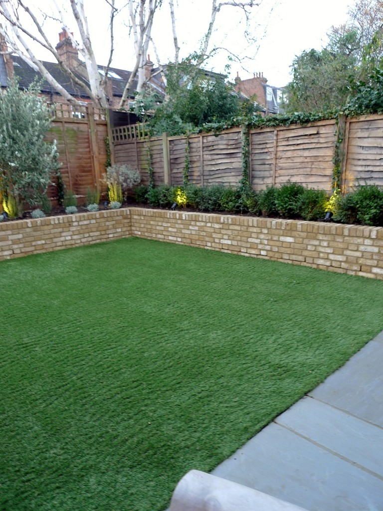 Yellow brick raised bed walls artificial fake easy grass lawn mixed planting herne hill dulwich london (9)