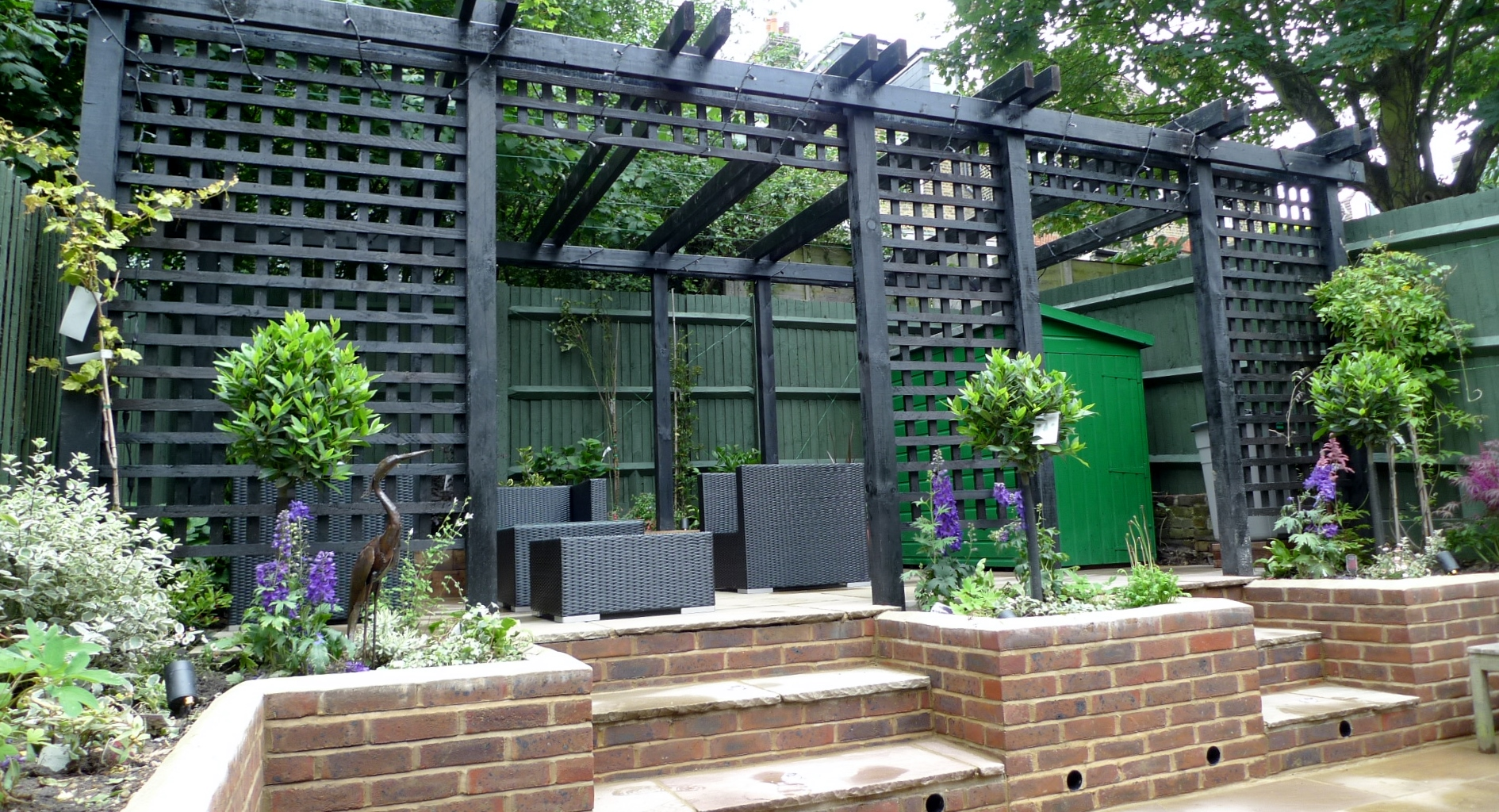 Garden walls pergola paving steps planting design designer ... on Garden Patio Wall Ideas id=56188
