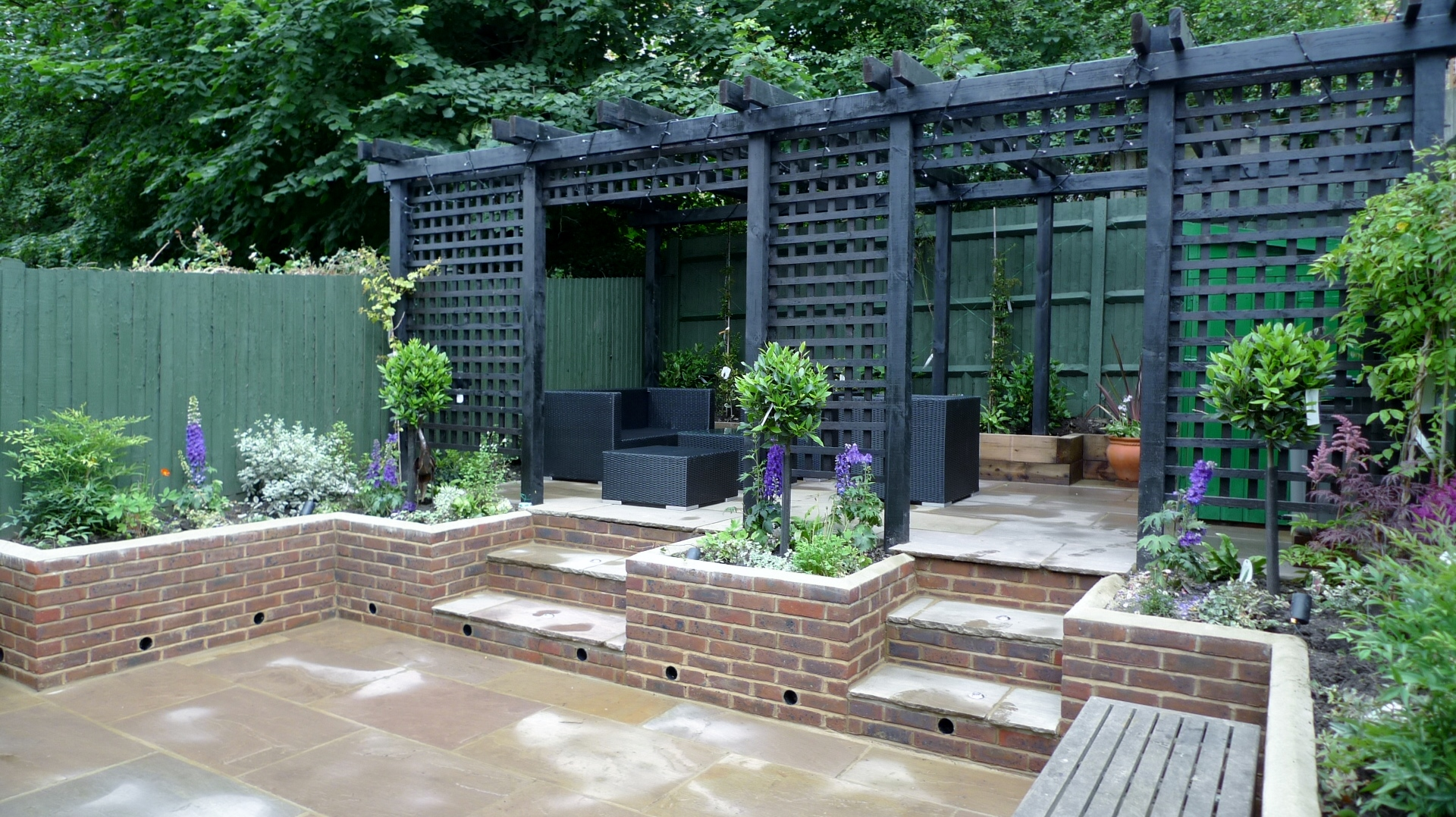 Garden walls pergola paving steps planting design designer ... on Backyard Wall Design id=99041